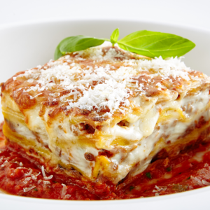Layered pasta with our flavorful meat sauce and ricotta cheese, topped with mozzarella and baked to perfection