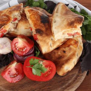 Mozzarella, ricotta cheese, and ham